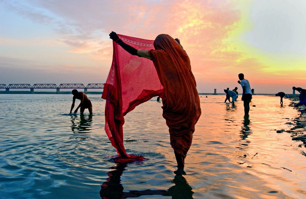 Fluss Ayodhya in Indien