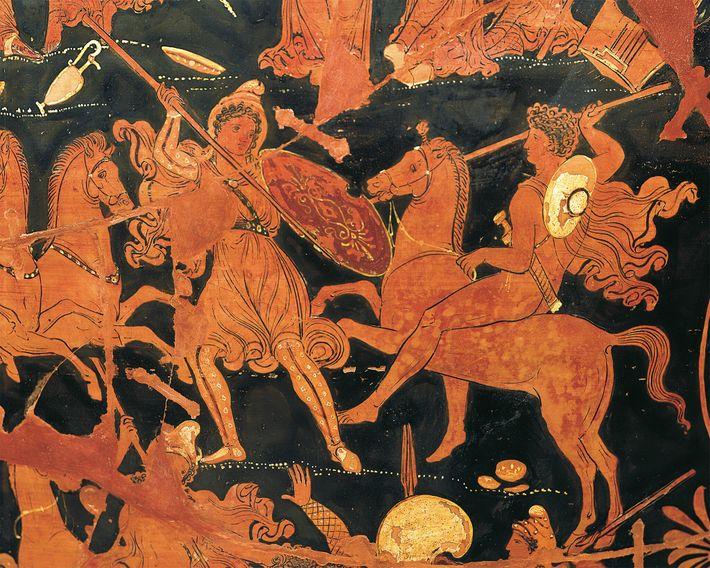 Amazonen kämpfen auf dieser griechischen Vase aus dem 4. Jahrhundert.
