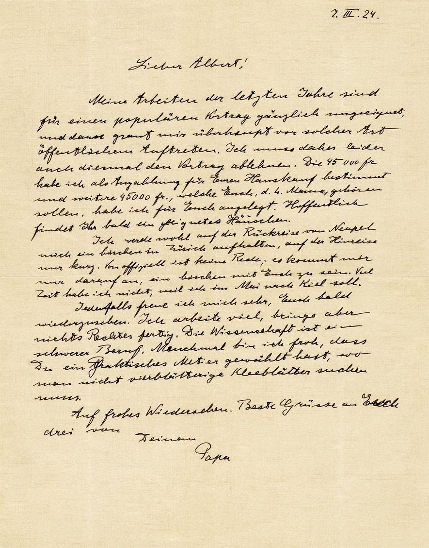 Einstein schrieb sein Leben lang auf Deutsch, so auch in diesem Brief an seinen Sohn Hans ...