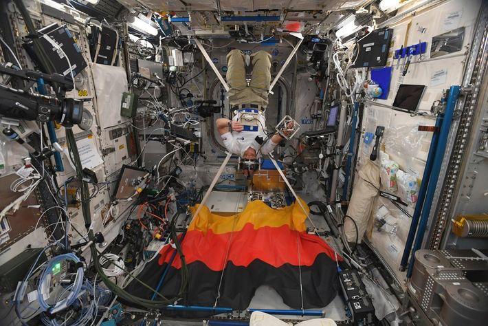 Alexander Gerst bei einem Experiment an Bord der ISS. Der Stoff der Flagge blockiert die Störreflexe ...