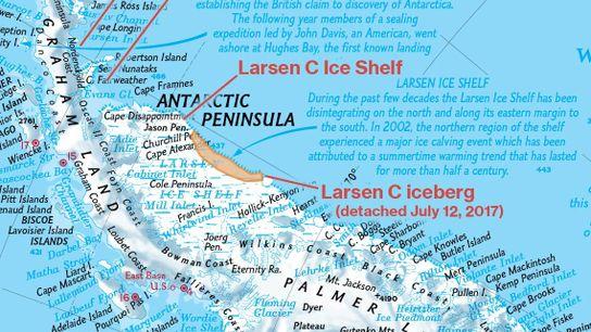 Bild des Eisschelfs Larsen C aus einem Atlas von 2015