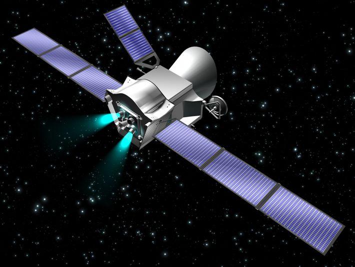 Grafische Simulation des aus zwei Sonden zusammengesetzten Raumfahrzeugs während seiner interplanetaren Reise zum Merkur.
