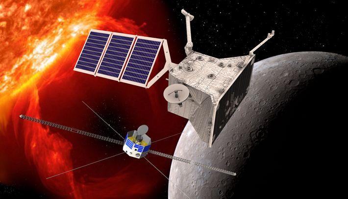 Grafische Simulation der beiden Orbiter von BepiColombo am Planeten Merkur. Im Bildvordergrund der Mercury Planetary Orbiter ...