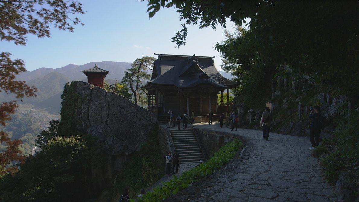 Der Yamadera Tempel.