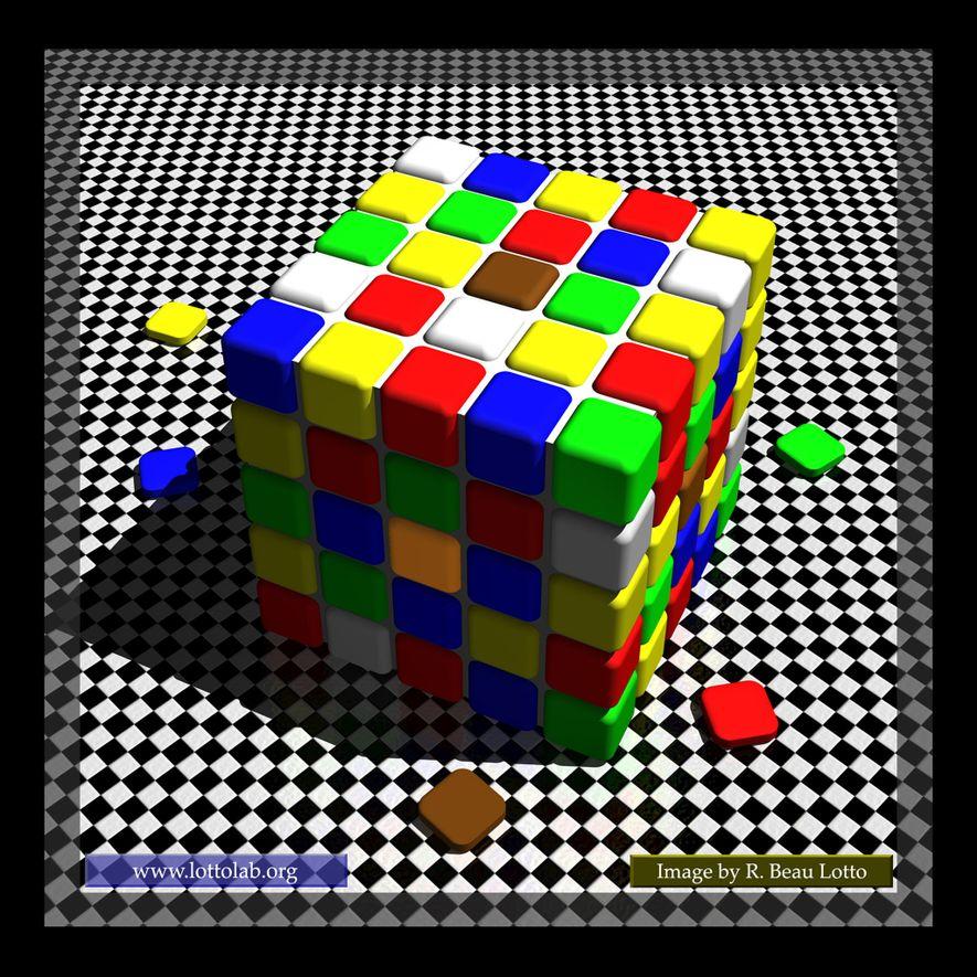 Illusionen und Täuschungen lassen uns an dem zweifeln, was wir sehen. Die beiden mittleren Quadrate auf diesem Würfel haben beispielsweise dieselbe Farbe. Wisst ihr, wie diese Täuschung funktioniert?