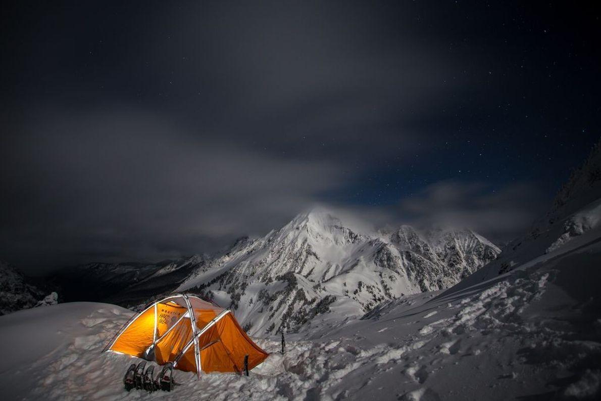 Zelt in der Nähe des Gipfels des Winchester Mountain