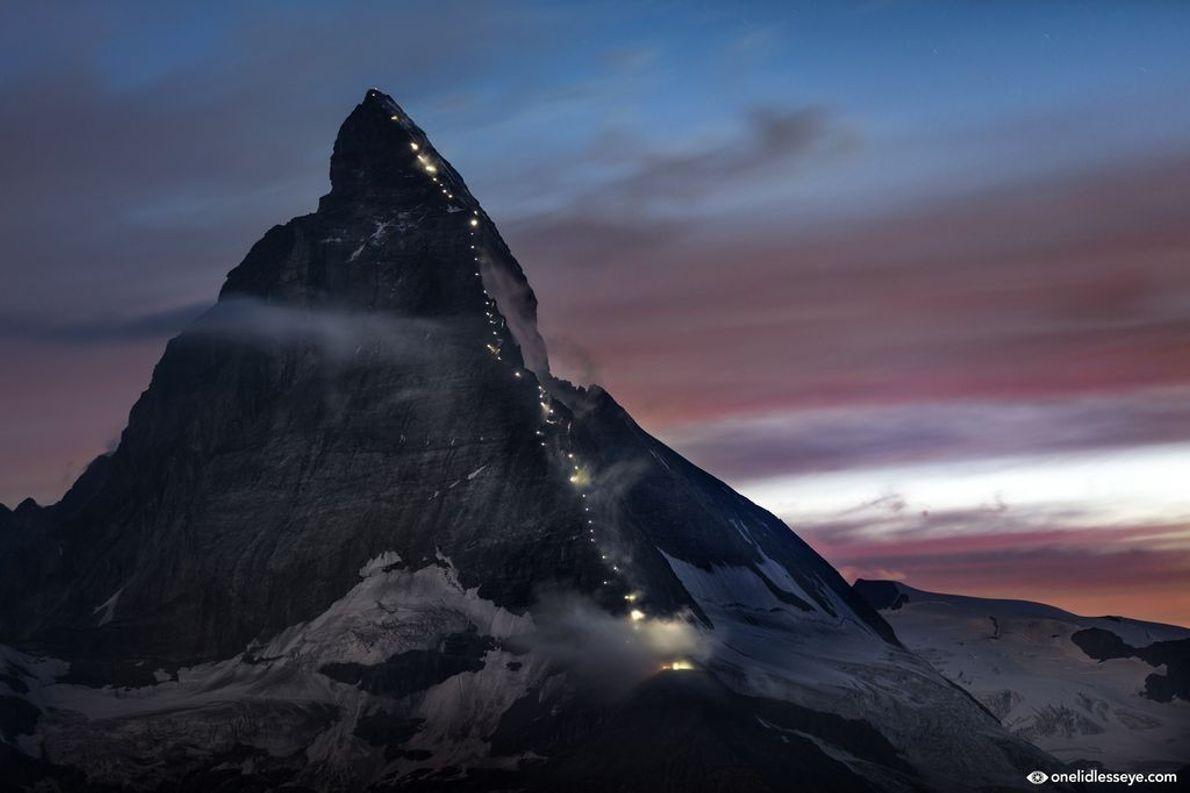 Beleuchtetes Matterhorn