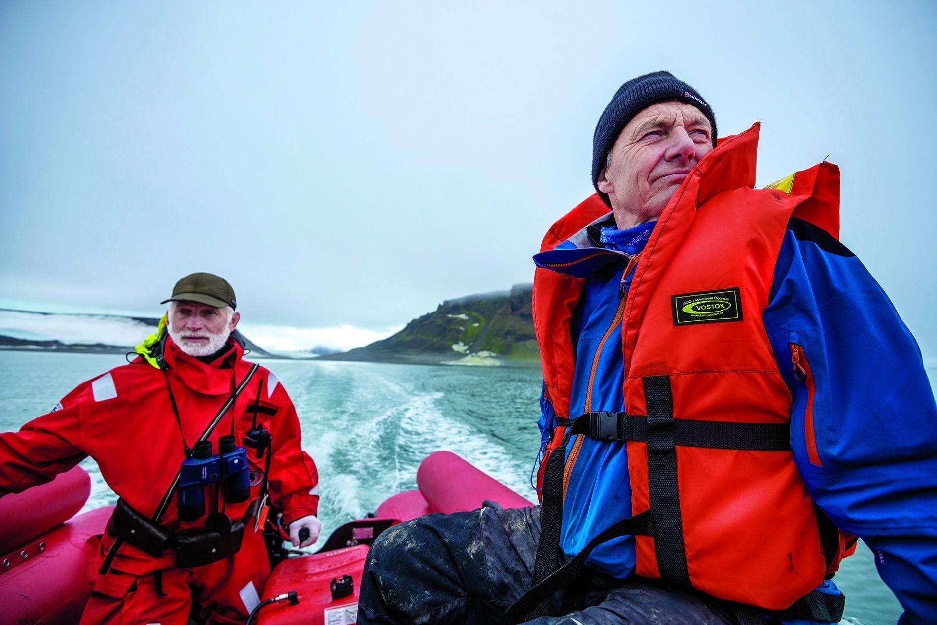 Paul Rose (rechts im Foto) im Archipel Franz-Josef-Land in der russischen Arktis.