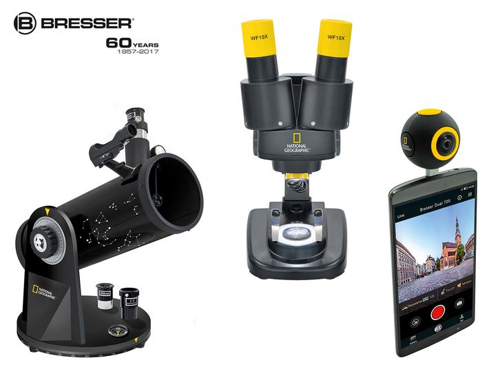"""""""Kompakt Teleskop"""", """"Stereo-Mikroskop"""" und  """"Android Action Camera"""" von Bresser."""
