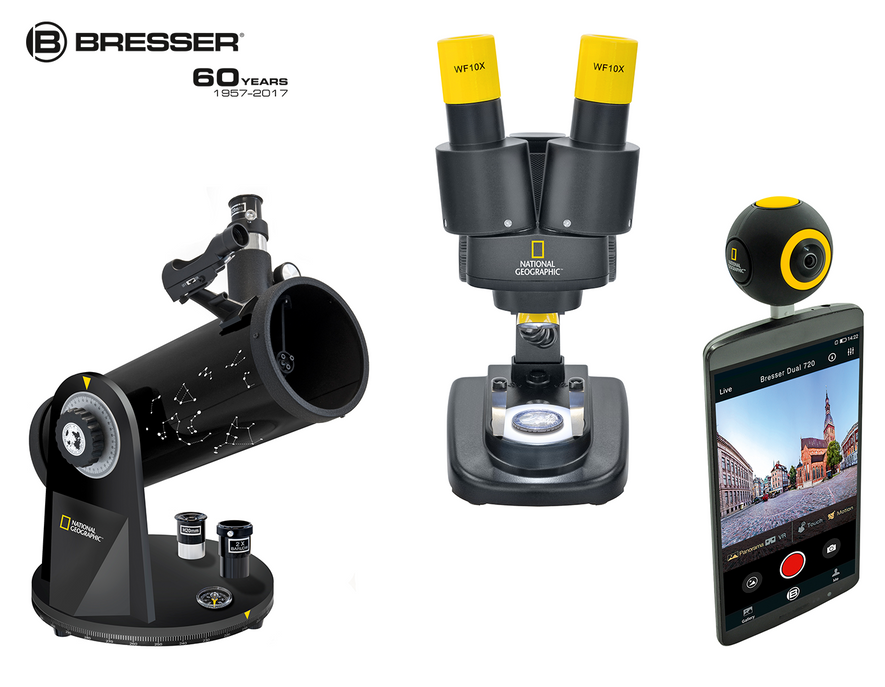 """""""Kompakt Teleskop"""", """"Stereo-Mikroskop"""" und""""Android Action Camera"""" von Bresser."""