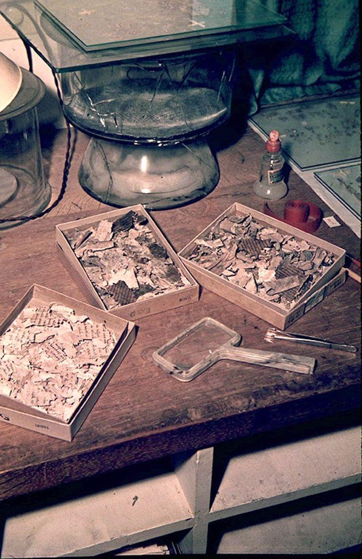 Hunzingers Arbeitsplatz in Jerusalem. Im Hintergrund das Glasgefäß, indem Fragmente gedämpft wurden, wenn sie trocken und ...