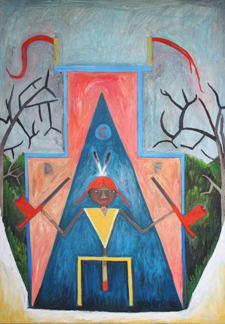 """""""Selbstbildnis des Künstlers, der einen rothaarigen Winnetou vor den Kreidefelsen spielt"""" Der Metis Cree Künstler Bob Boyer macht sich hier über die deutsche Indianertümelei lustig. Gleichzeitig ist das Bild ein Tribut an den von ihm verehrten Caspar David Friedrich."""