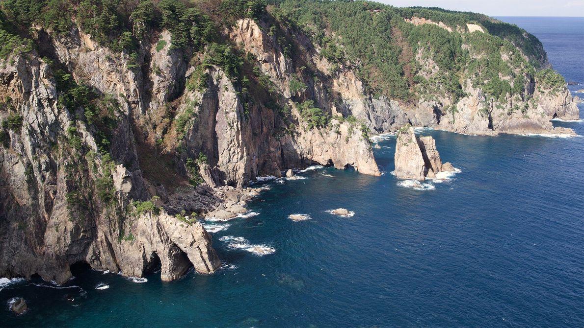 Ein Teil des Michinoku Küstenwegs in Kitayamazaki.