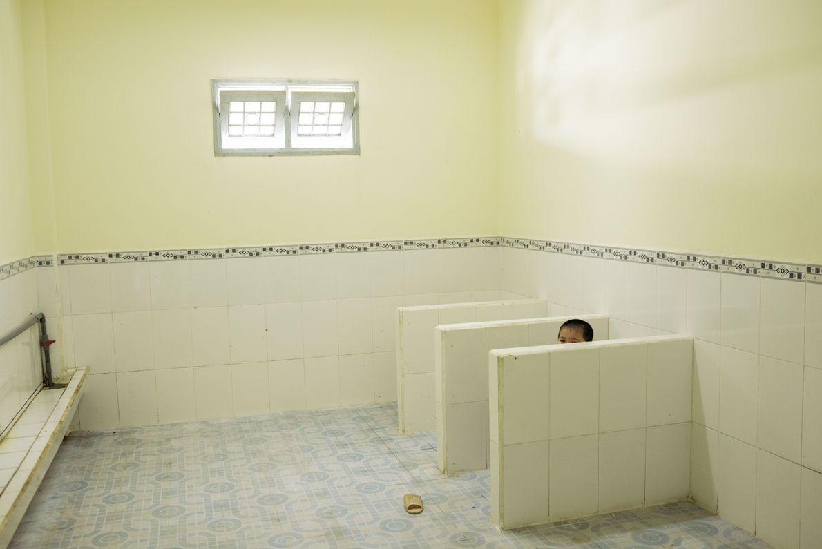 Innentoiletten in einer Schule in Vietnam