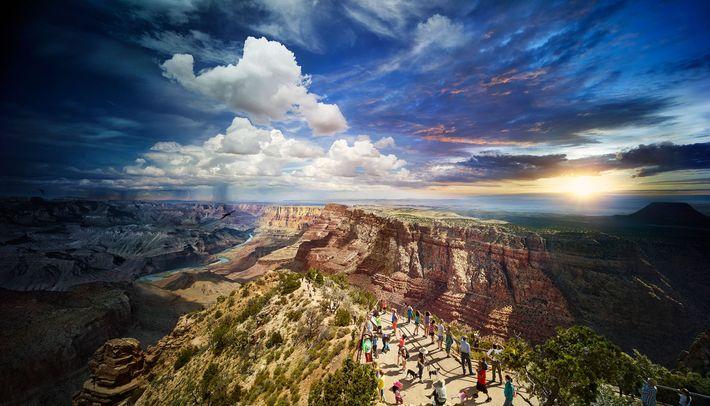 Fotografiert vom Desert View Watchtower aus. Wilkes erschuf dieses Bild des South Rim im Grand Canyon ...