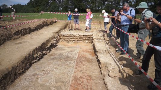 Großes römisches Mosaik bei Ausgrabungen in England entdeckt
