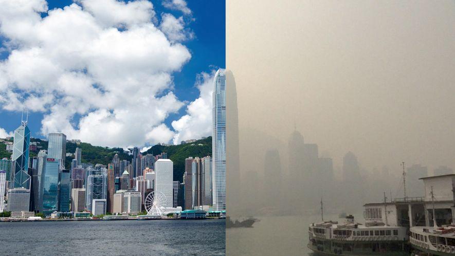 Smog vernebelt die Skyline Hongkongs