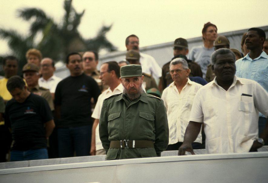 Ein öffentlicher Auftritt Fidel Castros bei einer Kundgebung in Havanna.