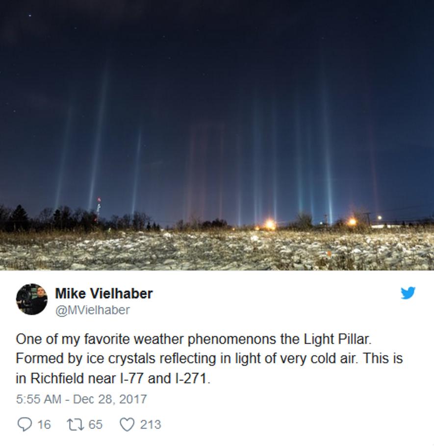 Im US-Bundesstaat Ohio konnte man neulich ein seltenes Phänomen beobachten. Der Fotograf Mike Vielhaber schrieb auf ...