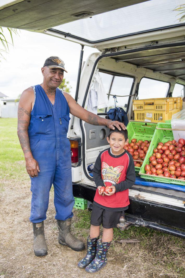 Frank Walters und sein Enkel Arcadian Drewet verkaufen an ihrem Straßenstand Tamarillos (Baumtomaten) und Süßkartoffeln in ...
