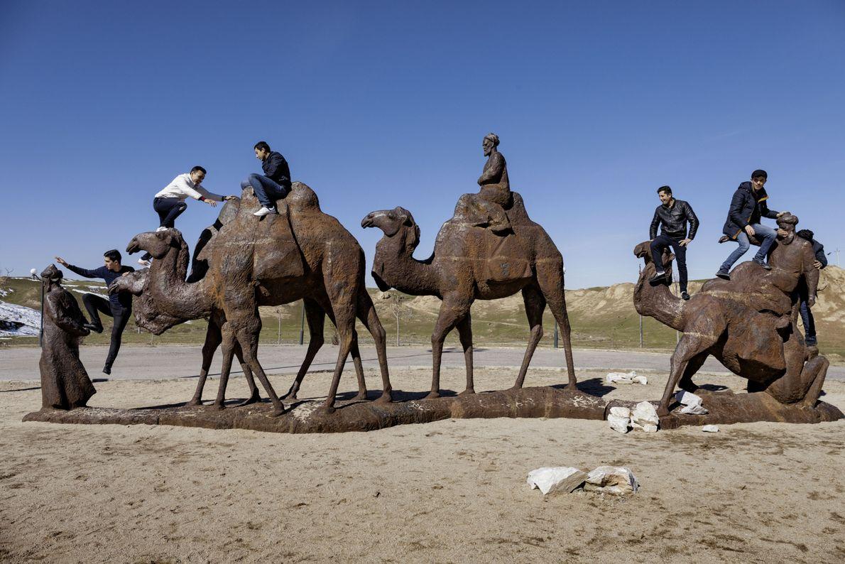 Kamelstatuen im Afrasiab-Museum Samarkand