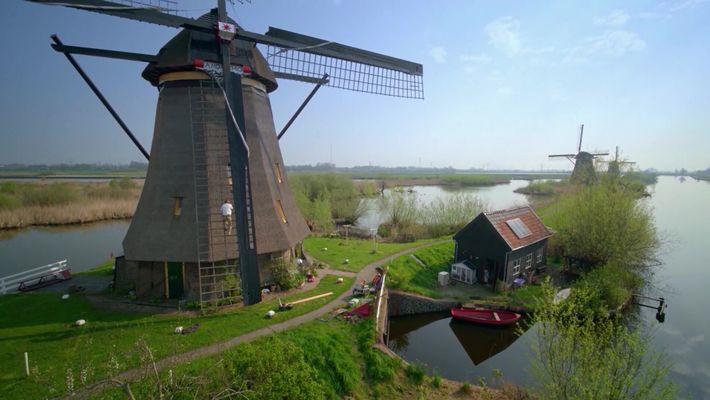 Die Windmühlen der Niederlande aus neuer Perspektive