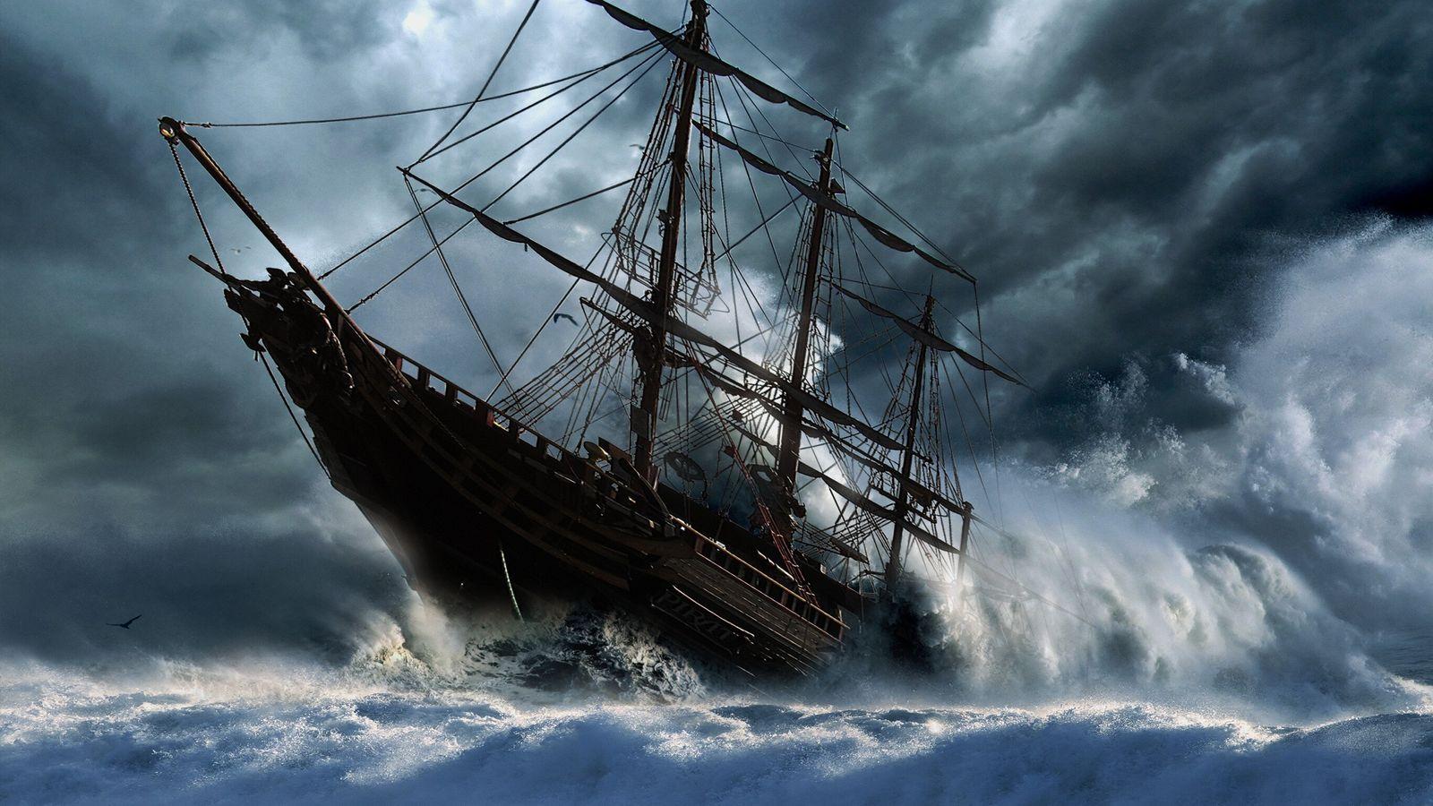 Gemälde: Ein Segelschiff kämpft in stürmischer See mit dem Untergehen