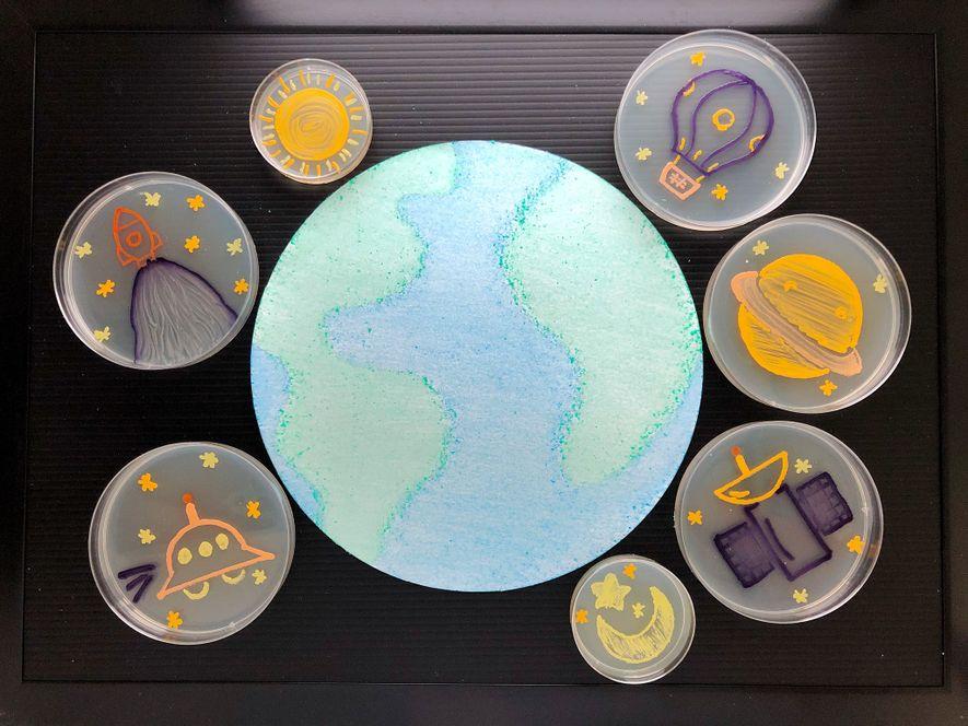"""Sieben Kunstwerke auf Agarplatten zeigen Himmelsobjekte, die sich im Erdorbit befinden und zusammen das Werk """"The ..."""