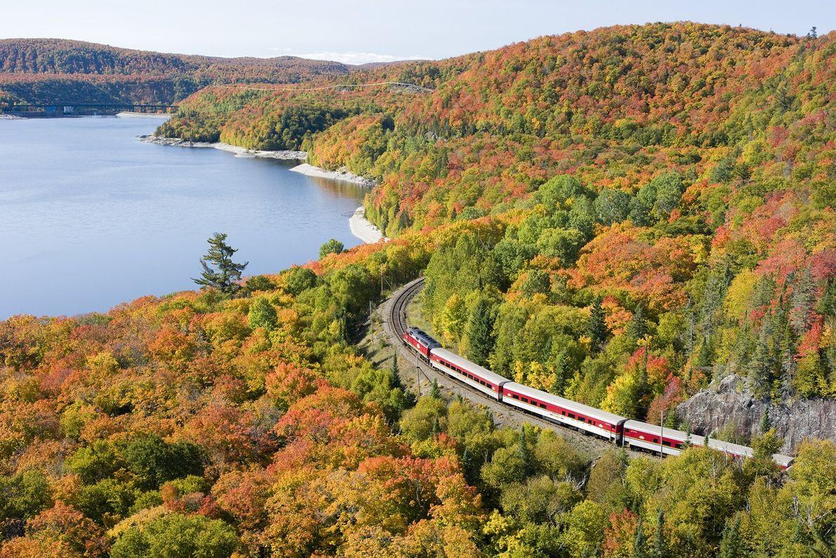Herbstlandschaft und Zugstrecke