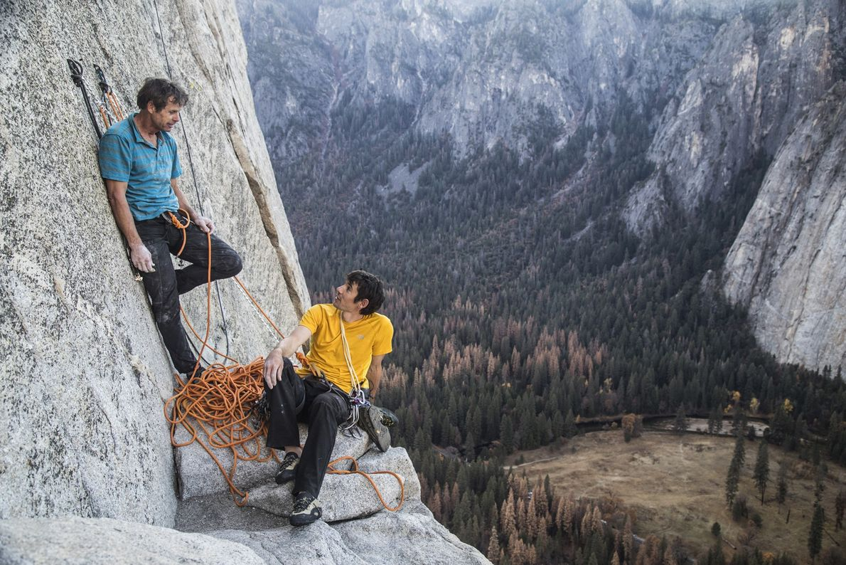 Alex Honnold and Peter Croft belay ledge