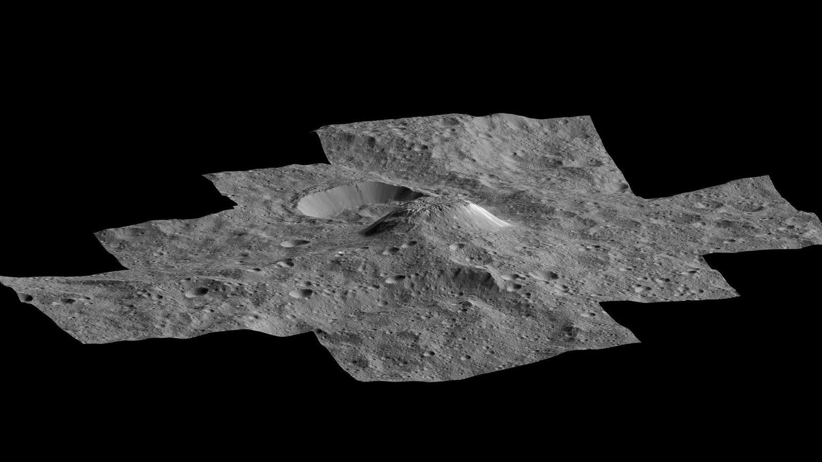 Der mysteriöse Kryovulkan Ahuna Mons erhebt sich über der Landschaft von Ceres. Das Bild wurde aus ...