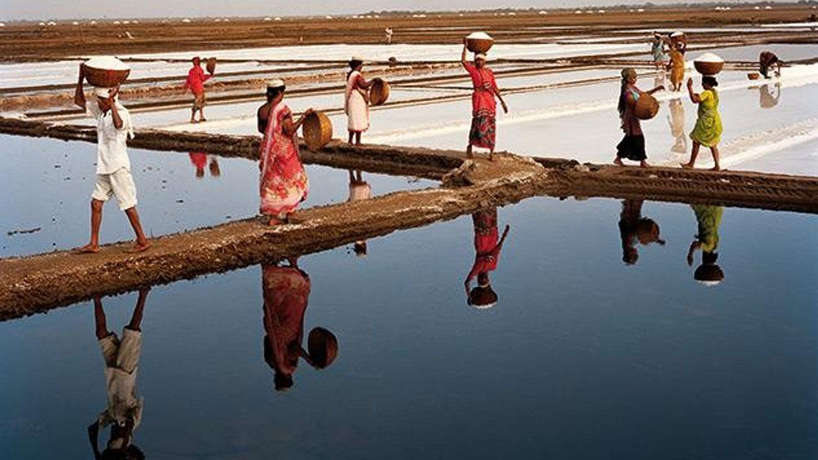 Arbeiter heute bei der Salzernte in Dharasana, Gujarat