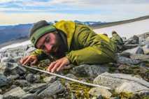 Ein Forscher untersucht einen hölzernen Pfeilschaft, der in dem Eisfeld von Langfonne in Norwegen freigelegt wurde. ...