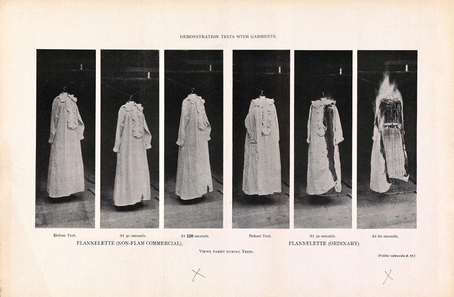 Das britische Brandschutz-Komitee demonstrierte 1910 in einem Experiment, wie leicht entzündbar Baumwollflanell ist. Das linke Kleidungsstück ...
