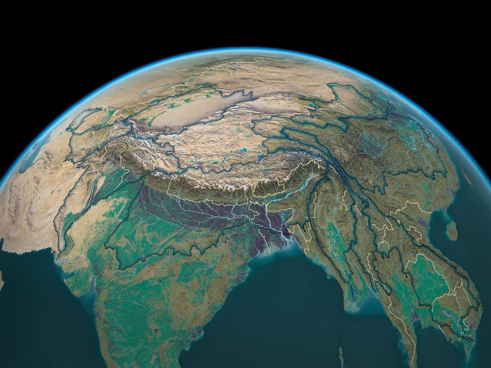 Die Quellgebiete 10 großer Flüsse befinden sich in der Nähe von einigen der höchsten Punkte der ...