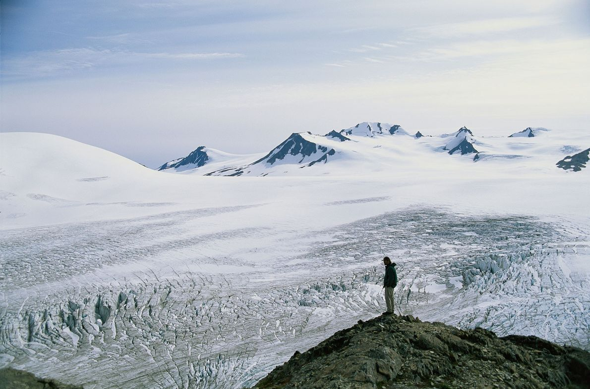 Ein Wanderer blickt auf das Harding Icefield in Alaska. Als die ersten Menschen Amerika erreichten, glich ...