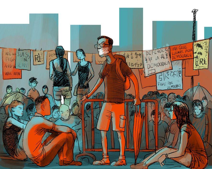 AUGUST 2014: Das chinesische Parlament schließt freie Wahlen in Hongkong aus und verkündet, dass sich nur ...