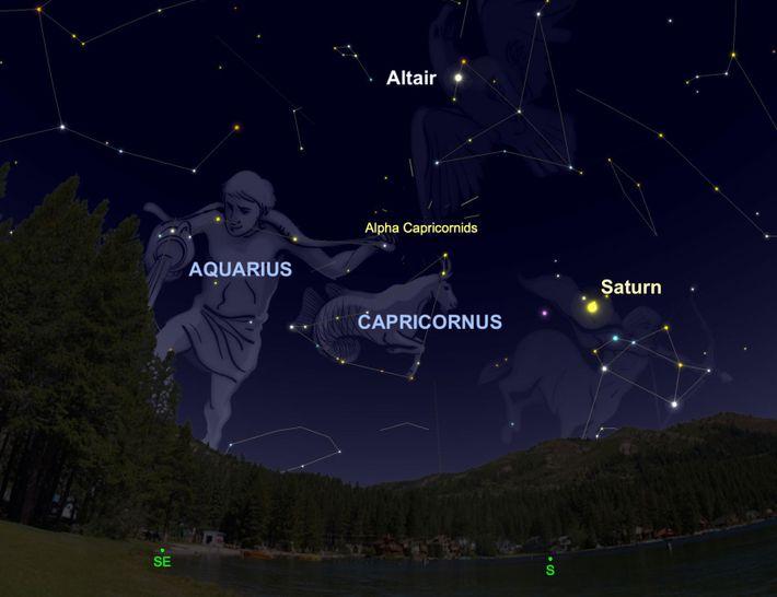 Die Alpha-Capricorniden scheinen am 2. August ihrem namensgebenden Sternbild Steinbock zu entspringen.