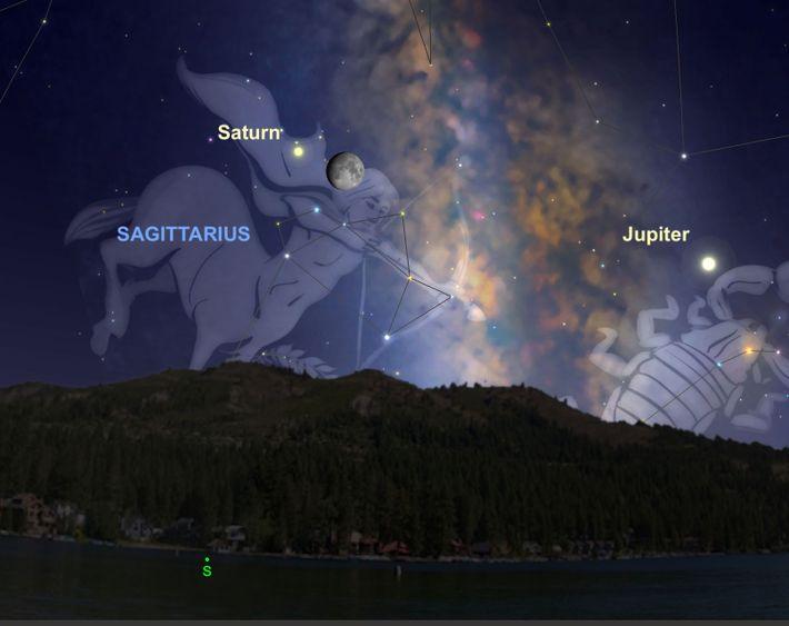 Am 11. August wird der cremefarbene Saturn besonders nah am Mond stehen.