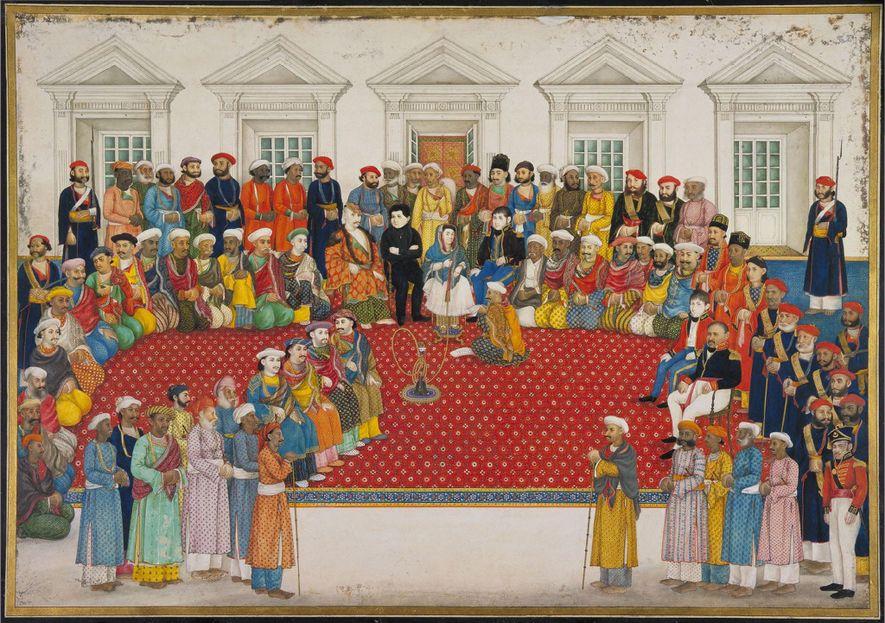 Dieses Gemälde von Begum Samru und ihrem Haushalt wurde um 1830 angefertigt. Als Kommandantin von 3.000 ...