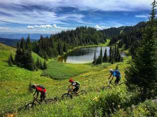 Das Sun Peaks Resort betreibt einen Mountainbike-Park, dessen Trails per Lift zugänglich sind.