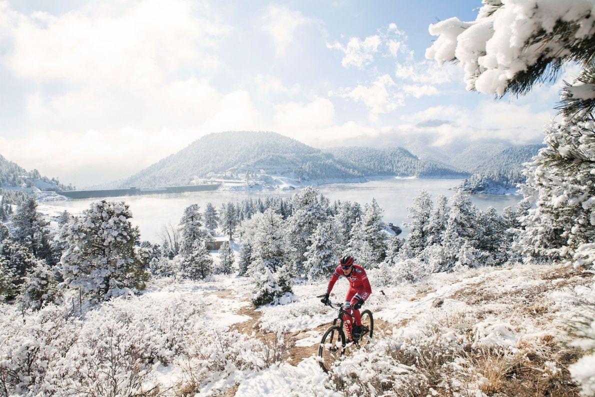 In Boulder, Colorado, sind Mountainbiker das ganze Jahr über unterwegs und machen sich schon Stunden nach ...