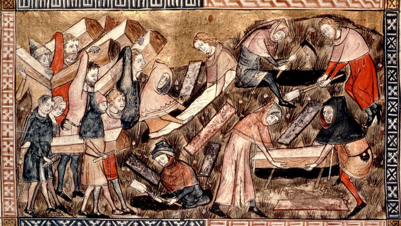 In dieser europäischen Zeichnung aus der Mitte des 14. Jahrhunderts tragen Dorfbewohner die Särge von Pestopfern.