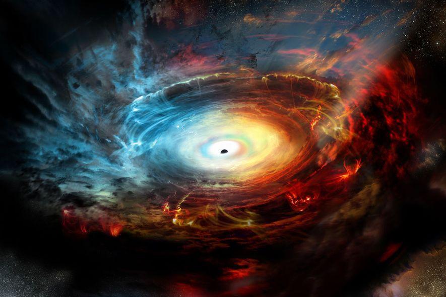 Das Supermassive Schwarze Loch im Zentrum unserer Galaxie ist hinter dichten Wolken aus Staub und Gas ...