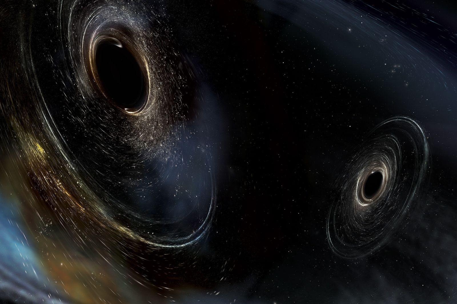 Zwei Schwarze Löcher verschmelzen in der Weite des Kosmos