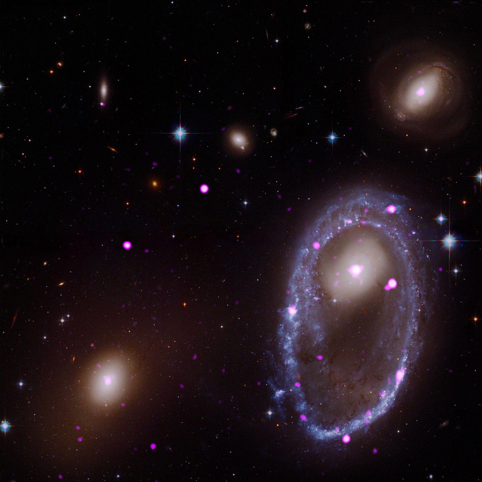 Eine zusammengesetzte Aufnahme der Teleskope Hubble und Chandra zeigt die Ringgalaxie AM 0644-741.
