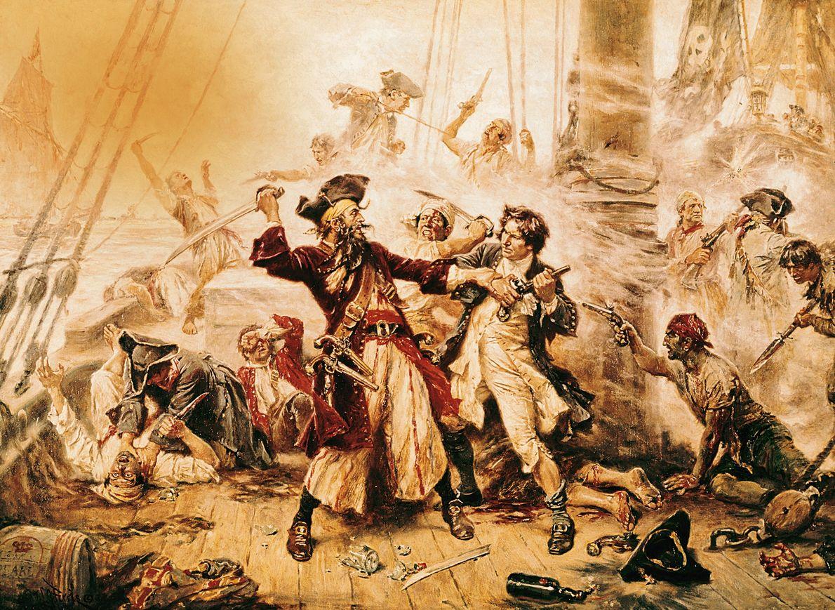 Dieses Ölgemälde von 1718 zeigt den berüchtigten Blackbeard vor seinem Tod durch Lt. Robert Maynards Streitkräfte.