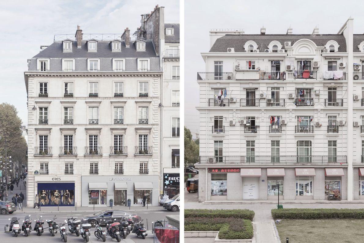 Viele der Wohnungen in Tianducheng (rechts) stehen nach wie vor leer, auch wenn die Einwohnerzahl des ...