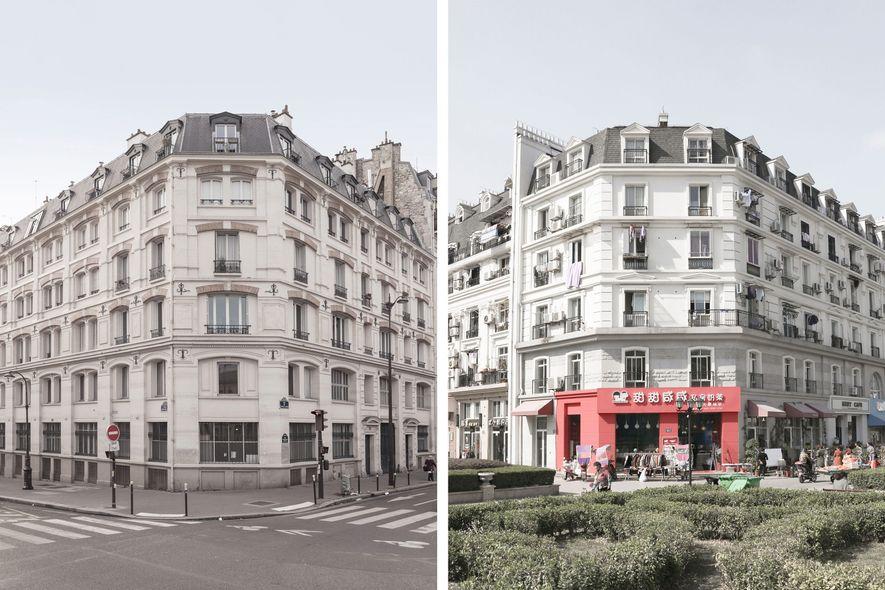 Die Gebäude von Tianducheng(rechts) erinnern an die Architektur von Paris (links).