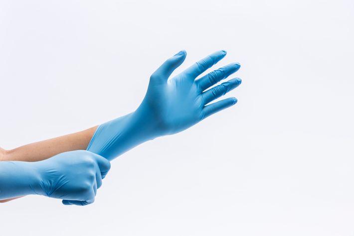 Blaue Latexhandschuhe